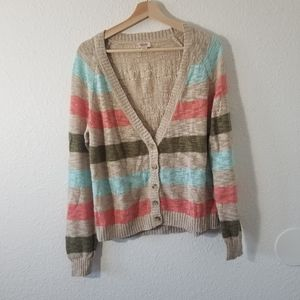 Mossimo Supply Co Striped Sweater Tan Size XL